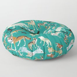 Wolves of the World Green pattern Floor Pillow