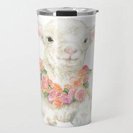 Baby Lamb Floral Watercolor Farm Animal Travel Mug