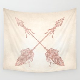 Tribal Arrows Rose Gold on Paper Wall Tapestry