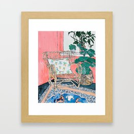 Cane Chair in Pink Interior Framed Art Print