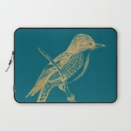 Gold bird branche on quetzal green Laptop Sleeve