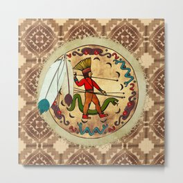 The Warrior Native American Folk Art Metal Print