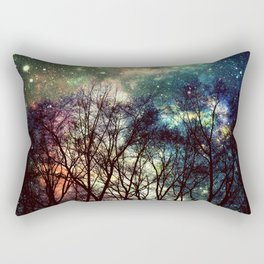 Black Trees Deeply Colorful Space Rectangular Pillow