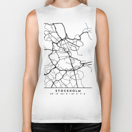 STOCKHOLM SWEDEN BLACK CITY STREET MAP ART Biker Tank