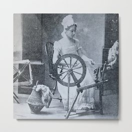 Colonist with spinning wheel, 1800s photograph Metal Print