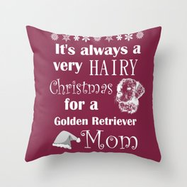 Funny Golden Retriever Mom Christmas Shedding Throw Pillow
