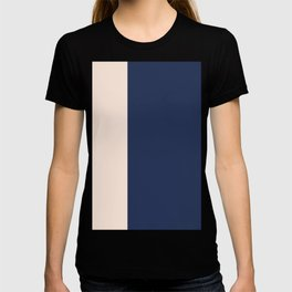 peach and navy stripes, minimalist, simple design, cool, chic, modern, elegant T-shirt