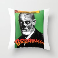 freud Throw Pillows featuring Zombie Freud by Ms Moirai