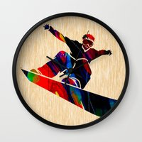 snowboard Wall Clocks featuring Snowboard by marvinblaine