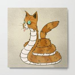 Cat Snake Metal Print