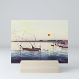 Fishing boats at sunset - Vintage Japanese Woodblock Print Art Mini Art Print