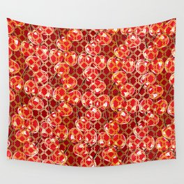 Seamless wire fence golden and red cherries pattern Wall Tapestry