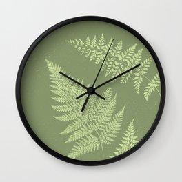 Dark olive fern Wall Clock