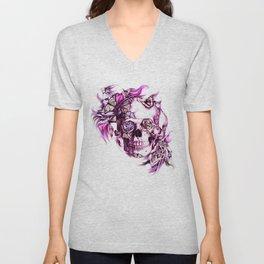 Plum Smoke and roses skull Illustration. Unisex V-Neck