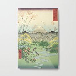 Vintage Japanese Woodblock Print Art - Mt. Fuji Seen From Otsuki Plain, Kai Province By Utagawa Hiroshige, 1850's. Metal Print