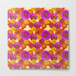 Colorful Flowers on Yellow Metal Print