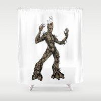 superheroes Shower Curtains featuring Real Superheroes: Groot Cat by FYeahMelissa
