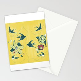 swallows and flowers Stationery Cards