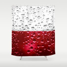 Flag of Poland - Raindrops Shower Curtain