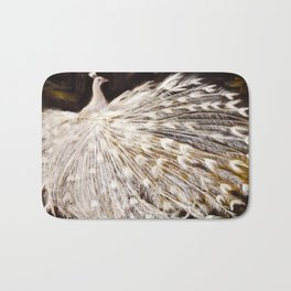 White Peacock Oil Painting Bath Mat