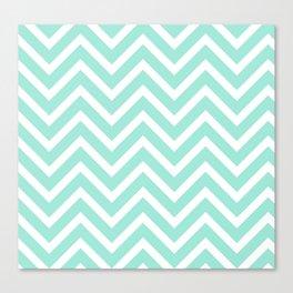 Chevron Stripes : Seafoam Green & White Canvas Print