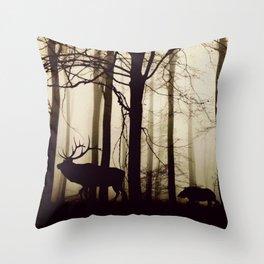 Forest night deer Throw Pillow