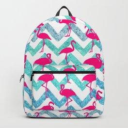 Go Flamingo! Tropical Pink Neon Flamingos Teal Glitter Chevron Backpack