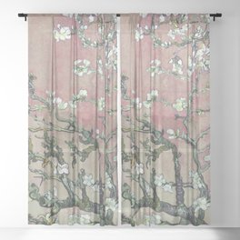 Almond Blossom - Vincent Van Gogh (pink pastel and cream) Sheer Curtain