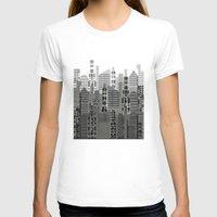 plaid T-shirts featuring Plaid City by LindaWexlerArt