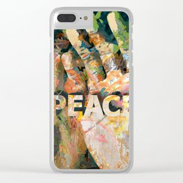 African hand with text Peace Clear iPhone Case