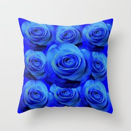 AWESOME BLUE ROSE GARDEN  PATTERN ART DESIGN Throw Pillow