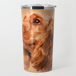 English Cocker Spaniel Dog Digital Art Travel Mug