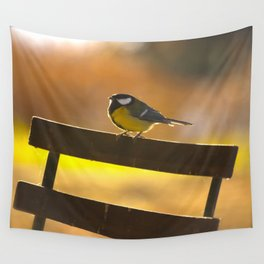 Great Tit On A Chair Wall Tapestry