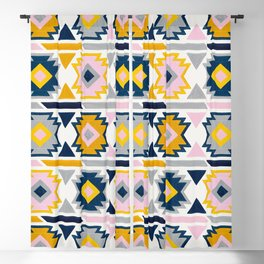 Kilim Abundance Pattern - Slate & Marigold Palette Blackout Curtain