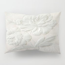Embossed Painterly White Floral Abstract Pillow Sham