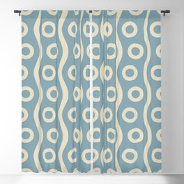 Mid Century Modern Rising Bubbles Pattern 2 Blue and Cream Blackout Curtain