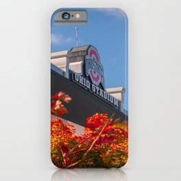 Ohio State Stadium Crimson Leaves Print iPhone Case