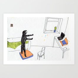 in the virtual reality suit Art Print