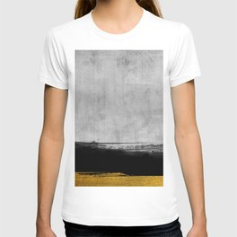 Black and Gold grunge stripes on modern grey concrete abstract backround I - Stripe - Striped T-shirt