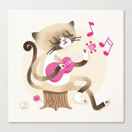 Miko playing ukulele Canvas Print