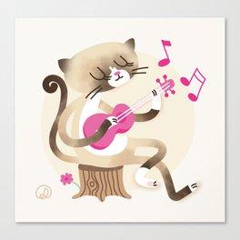 Miko playing ukulele Canvas Print