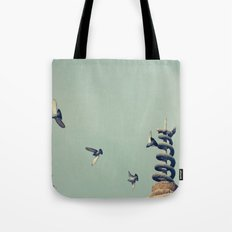 Flying Pigeons and Snakes Tote Bag
