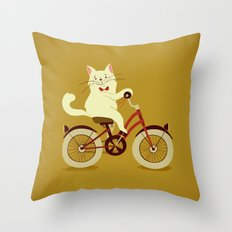 White cat on a bicycle Throw Pillow