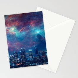 Los Angeles USA Megapolis Night Skyscrapers Houses Cities megalopolis night time Building Stationery Cards