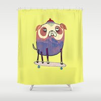 the dude Shower Curtains featuring Pug Dude. by Ashley Percival illustration