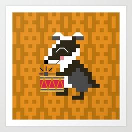 badger on drums Art Print