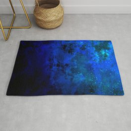 SECOND STAR TO THE RIGHT Rich Indigo Navy Blue Starry Night Sky Galaxy Clouds Fantasy Abstract Art Rug