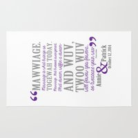 princess bride Area & Throw Rugs featuring custom listing for Wedding Date and names Princess Bride by studiomarshallarts