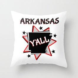 Arkansas State Y'all Throw Pillow