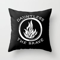 divergent Throw Pillows featuring Divergent -  Dauntless The Brave by Lunil